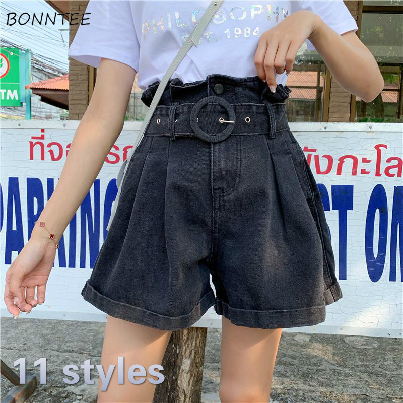 Shorts Women Plus Size 5XL Wide Leg High Waist With Sashes Button Denim Loose Casual Summer Hot Sale Short Vintage Womens Trendy