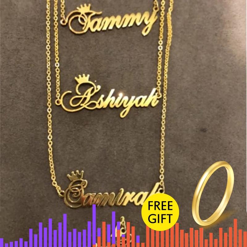 Presente de natal personalizado coroa nome colar personalizado jóias prata ouro rosa corrente de aço inoxidável placa de identificação gargantilha colares