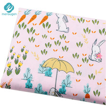Half meter to 3.5 meters Cartoon Rabbit Carrot Pink Cotton Fabrics for Baby Girls Dresses Baby Crib Bumper Bed Sheet Cushions Pillows Cover DIY Sewing Cloth(China)