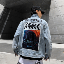 Alian Pattern Print Oversize Mens Jeans Jacket Oversize Hip Hop Harajuku Loose Casual Denim Jacket Windbreaker
