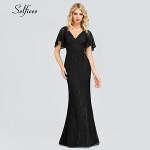 Image 4 - Sexy Sparkle Maix Dress For Women Short Sleeve V Neck Sequined Ladies Evening Party Dress Elegant Bodycon Dress Robe Femme 2020