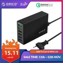 オリコ6ポートデスクトップ充電器QC2.0高速携帯電話のusbアダプタhuawei社xiaomi lg iphone eu/米国/英国/auプラグ