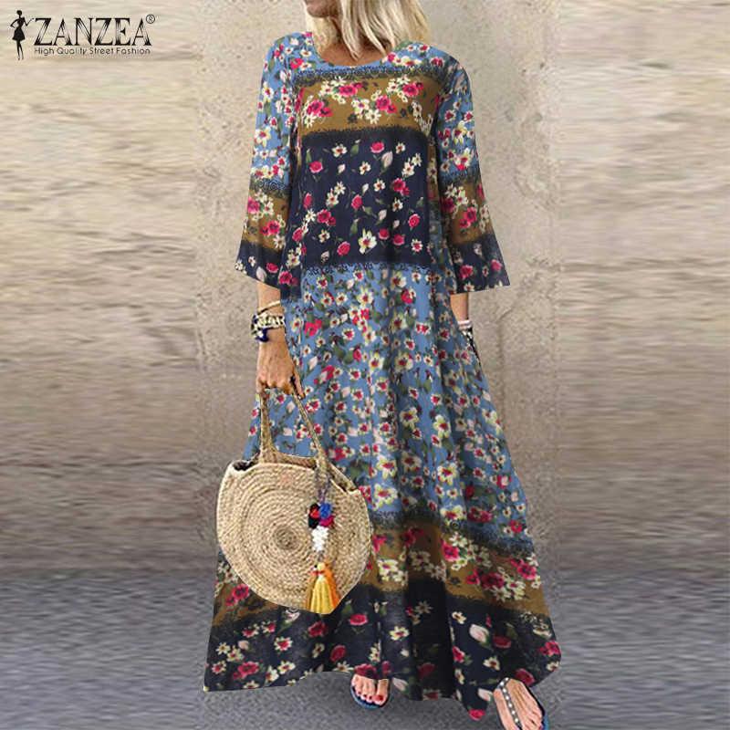 ZANZEA automne 3/4 manches à pois imprimé longue robe Vintage femmes coton lin robes Femme caftan Vestido Femme robe d'été