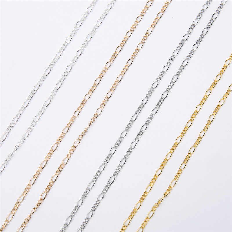 5 m/grup Genişlik 2mm Link Zinciri El Sanatları Kolye Bulguları Altın Gümüş Renk Demir Kolye Zincirleri Toplu Lot Diy takı Aksesuarları