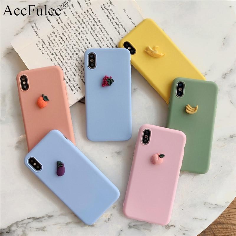 Cute Matte 3D Fruit Case For Motorola Moto G7 Power G6 Play G5S Plus G5 E5 E4 Plus Euro X4 Lovely Banana Soft Back Cover