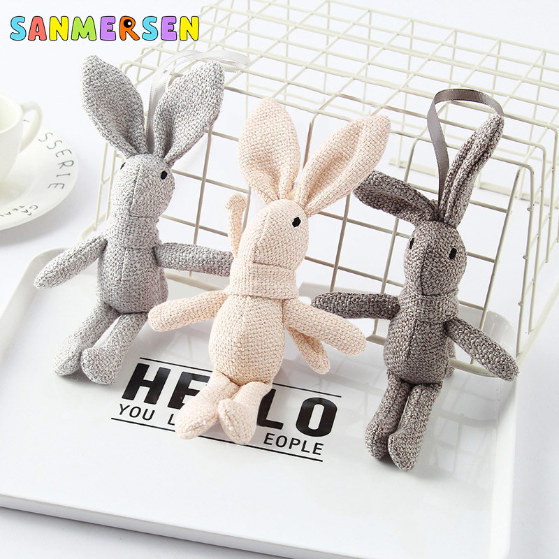 NEW Kawaii Rabbit Plush Stuffed Rabbit Animal Couple Keyring Chain Toy Kid's Party Plush Toys Decoration Bunny Doll Gifts 17x4cm