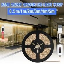Lampe LED sous-meuble à balayage manuel, bande lumineuse Flexible, capteur de mouvement USB, Lampe intelligente, veilleuse pour chambre à coucher, 5V