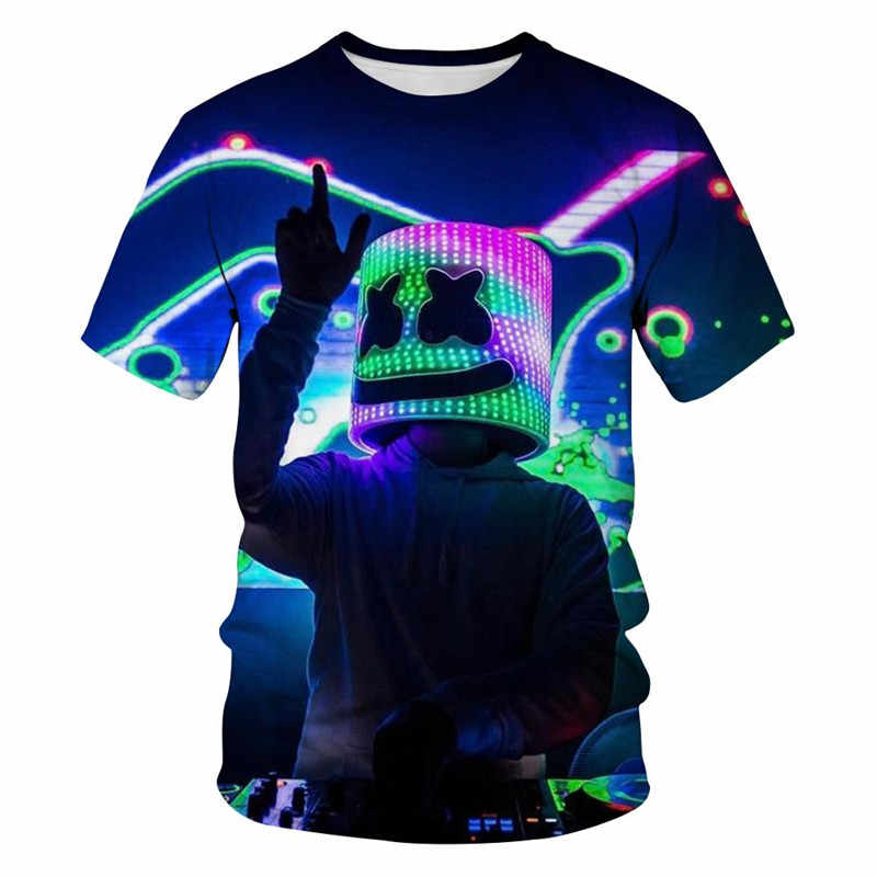 2020 di Nuovo modo di Tendenza Nuovo 3D T-Shirt Illumina Star Design Divertente Marshmallow Horror Movie T-Shirt Del Fumetto a maniche corte