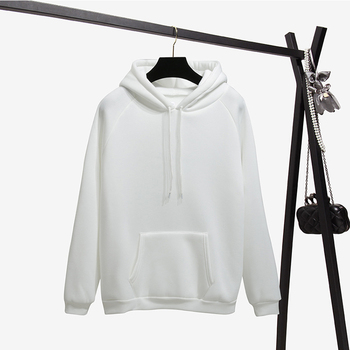 Ailegogo New Women Fleece Hoodies Lady Streetwear Sweatshirt Female White Black Winter Warm Hoodie Solid Color Outerwear 6