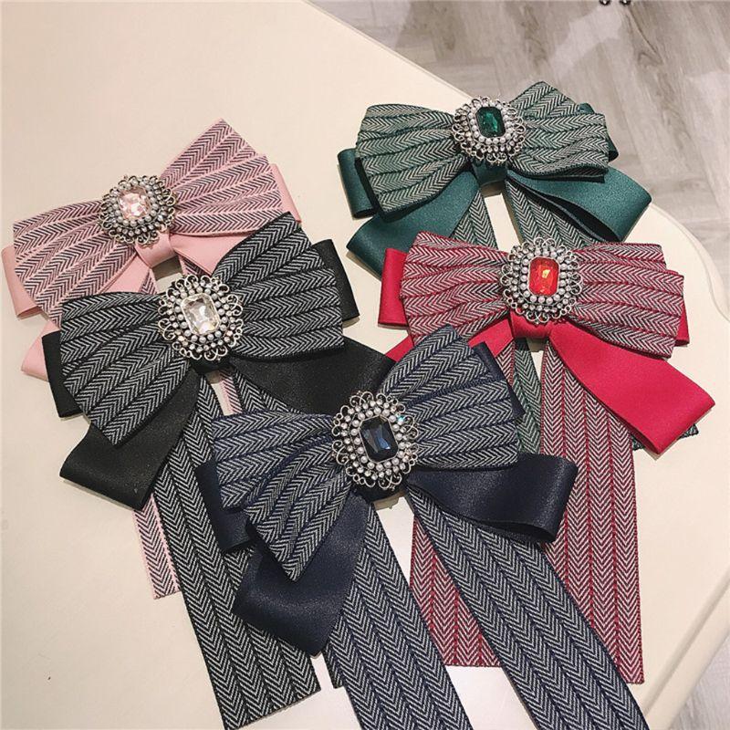 2019 женский ретро Красочный Полосатый галстук-бабочка имитация кристалла Ювелирная брошь на воротник булавка