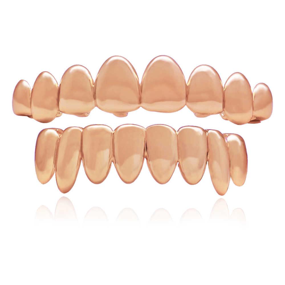 LuReen Новые панк золотые зубы грили для мужчин и женщин 8 зубов сверху снизу вампир Fangs Grillz хип-хоп рэппер ювелирные изделия для тела