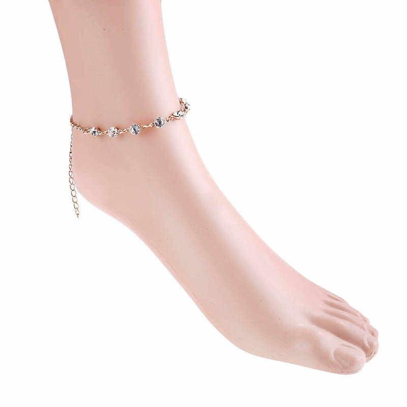 Vintage Kristal Halhal Kadınlar Için Paslanmaz Çelik Ayakkabı Çizme Zinciri Bilezik ayak takısı