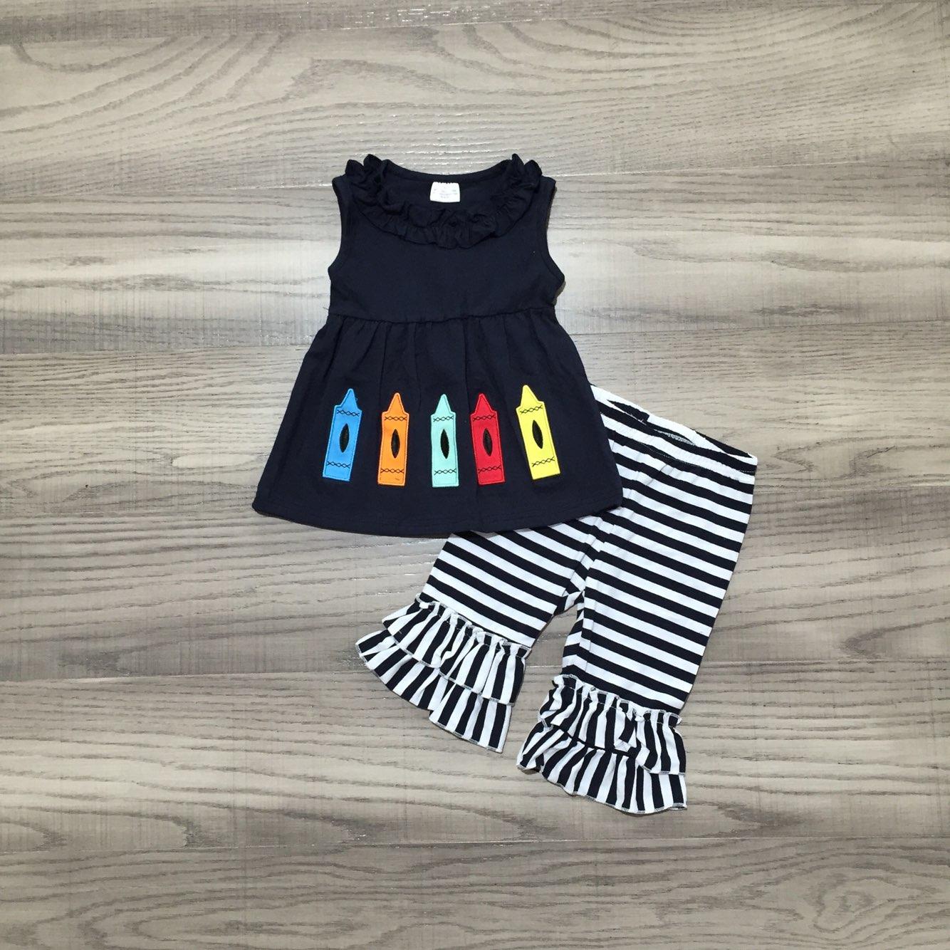Girlymax назад в школу, одежда для девочек, комбинезон с рисунком из мультфильма Аниме Crayon; Детская одежда в полоску; Капри комплект одежды из хл...