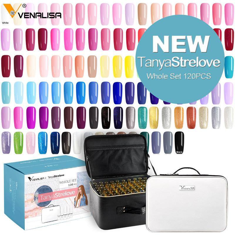 120pcs*12ml Venalisa gel polish set vernish color gel polish new fashion color for nail art design whole set nail gel enamel kit