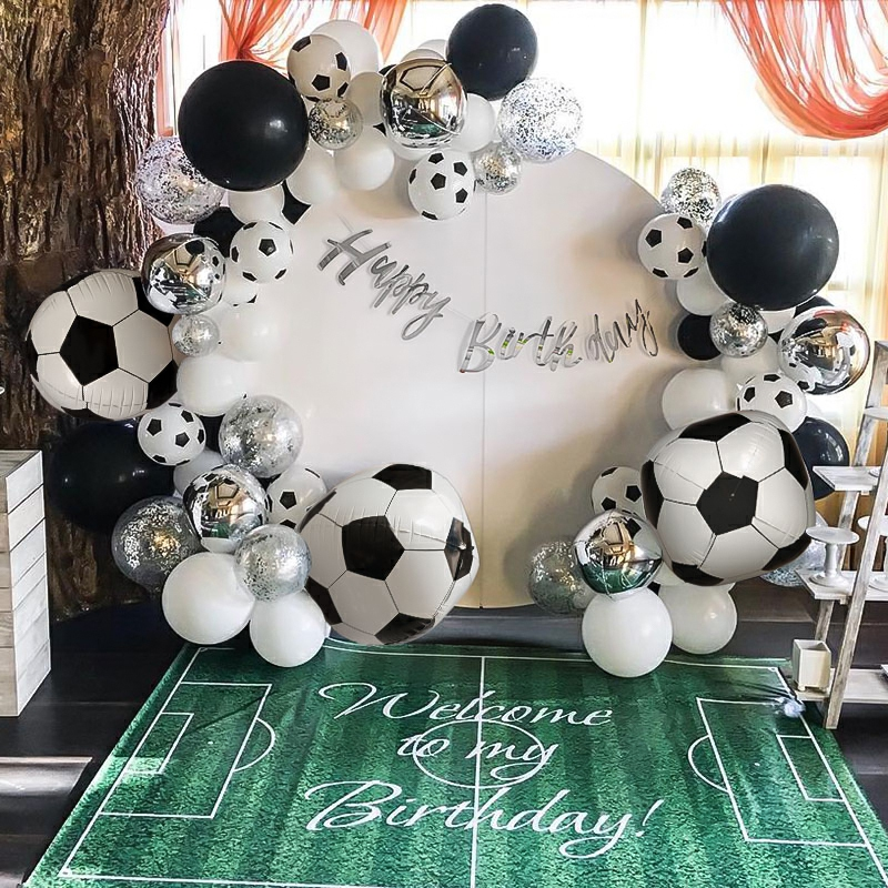 Black White Football Soccer Theme Party Balloons Green Latex Balloon For Boys Happy Birthday Games Banner Party Decor Supplies Ballons Accessories Aliexpress