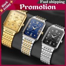 Men's Luxury Stainless Steel Gold Watch Top Brand Relogio Masculino Geneva Rectangle Quartz Watch Man Business Watches Mens 2020