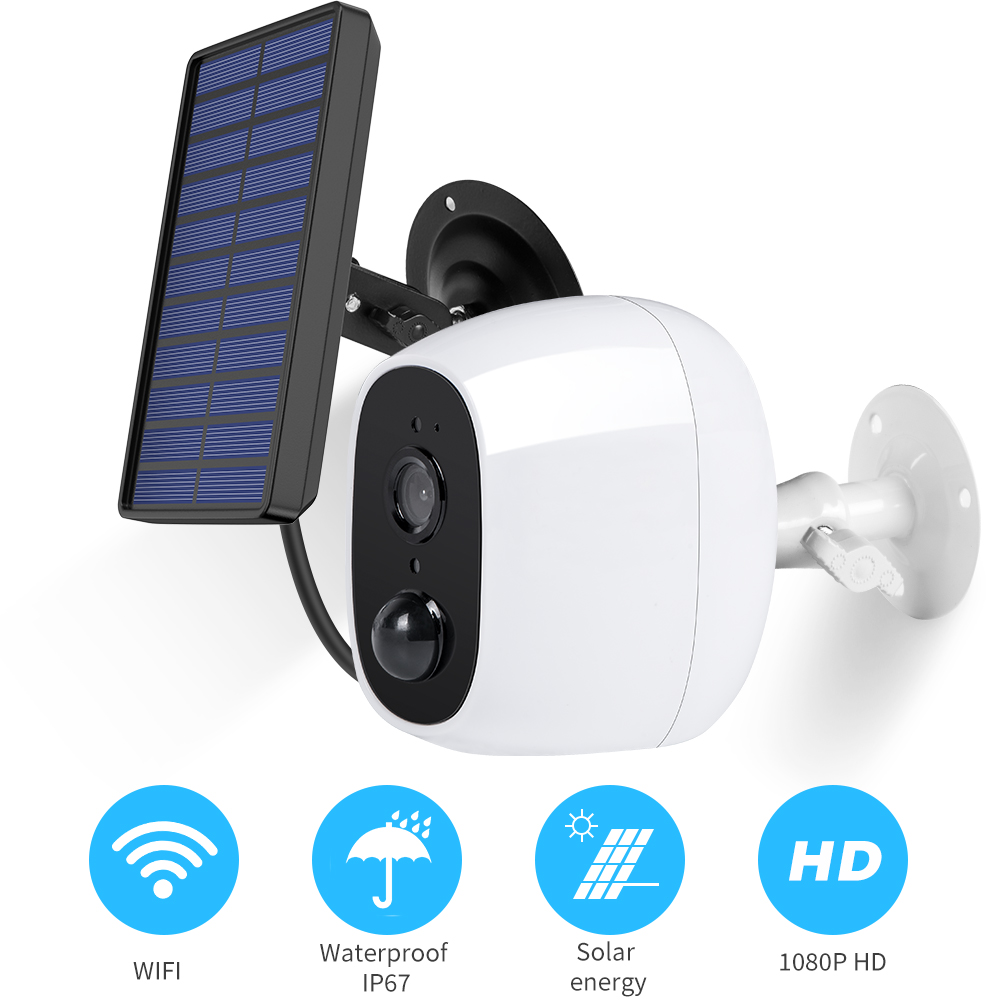 Rechargeable Battery Powered IP Camera Solar Power Charging 1080P HD Outdoor Wireless Security WiFi Camera 130 Wide View
