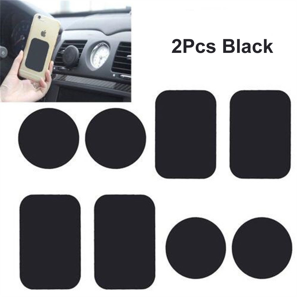2pcs Black Metal Universal Plate Disk Iron Sheet For Iphone Samsung Round Square Magnet  Magnetic Car Mobile Phone Stand Holder