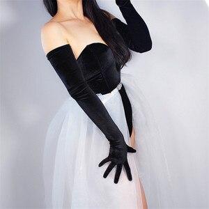 Image 4 - Luvas de veludo femininas, luvas de veludo com 70cm extra longo, luva preta para ópera feminina, cisne, veludo, dourado, touchscreen, wsr26