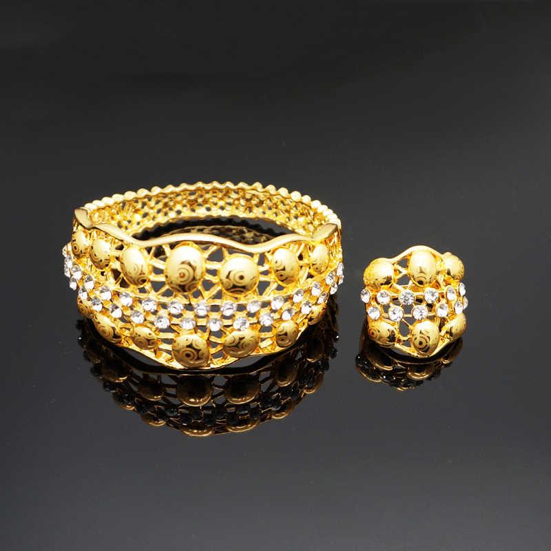 สร้อยข้อมือทองคำชุดเครื่องประดับ big กำไลข้อมือแหวนออกแบบใหม่ rhinestone สร้อยข้อมือ