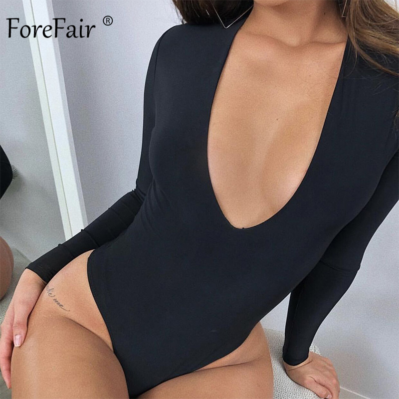 Forefair Long Sleeve Bodysuit Woman V Neck Autumn Club Party Casual Rompers Solid White Blue Black Sexy Bodysuit
