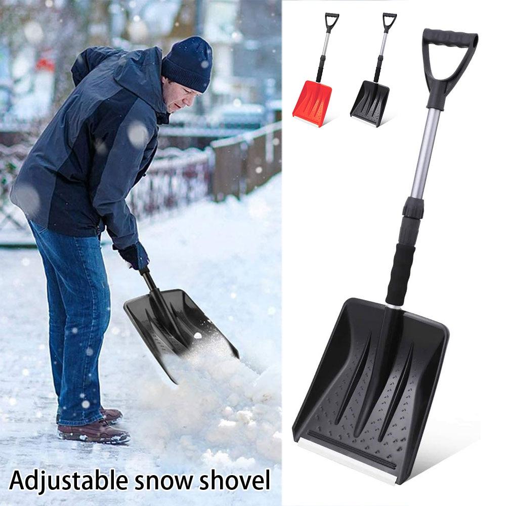 Лопата для снега с регулируемой ручкой, легкая лопата, прочная алюминиевая ручка, прочная портативная лопата для снега для автомобилей