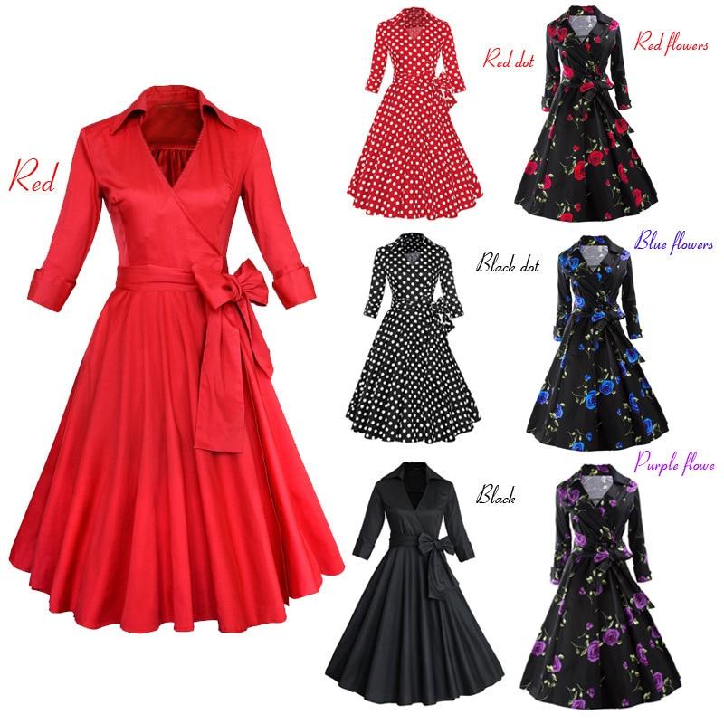 BacklakeGirls Autumn Spring Dress Three Quarter Sleeve Cocktail Dress Polk Dolt Solid Color  A-line Women Dress Vestido Cocktail
