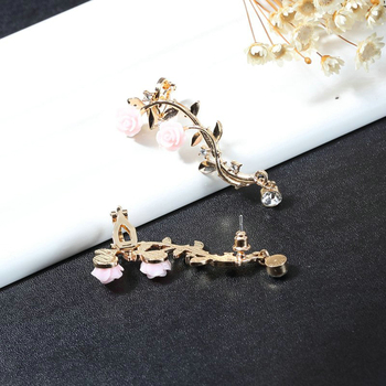 New Fashion Lady Gold Pink Rose Leaf Flower Ear Stud Cuff Earring Women Jewelry Pendientes Princesas Boucle D'oreille Cristal 2