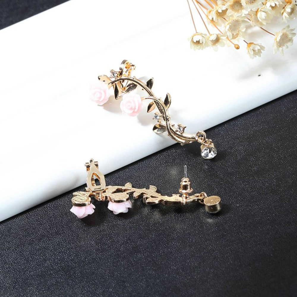 Nieuwe Fashion Lady Gold Roze Rose Leaf Flower Ear Stud Cuff Earring Vrouwen Sieraden Pendientes Princesas Boucle D' Oreille Cristal
