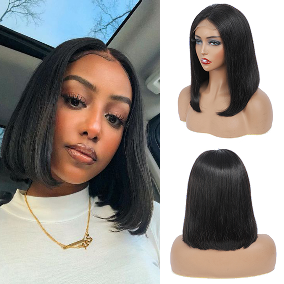 4*4 Straight Bob Wig Lace Front  Wig Pre Plucked with Baby Hair   Hair Frontal Short Bob Wig Black Women 2