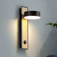 Modern Simple LED Wall Lamp with Switch on/of 5W Warm White Wood Sconce Study Bedside Wall Reading Light Black White