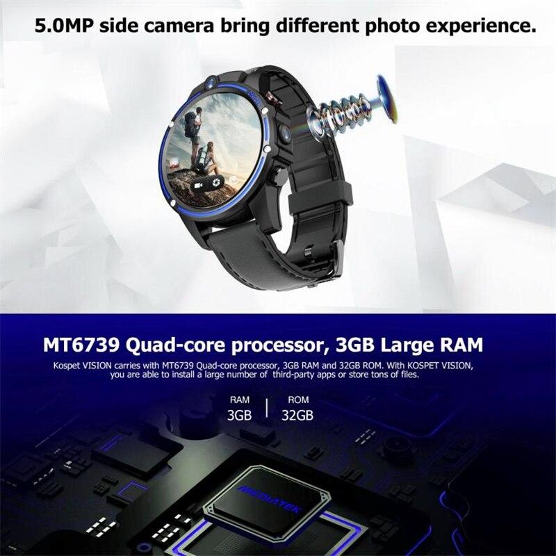 KOSPET Vision 3 ГБ 32 ГБ 5.0MP двойная камера GPS Спорт Android Смарт часы 1,6 800 мАч Bluetooth Smartwatch для мужчин для IOS Android - 6