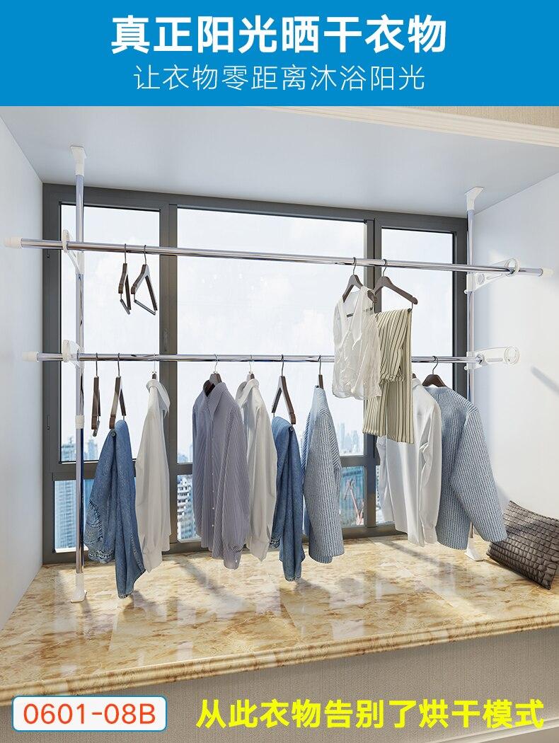 In acciaio Vestiti Cremagliera Pieghevole Multifunzionale Abbigliamento Gancio Pavimento Del Basamento Appeso Rack di Lavanderia Stendino per I Vestiti - 2