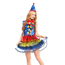 Comedy Circus Clown Costume Hat Bow Neck Tie Cosplay Party Fancy Dress Set