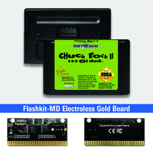 Chuck Rock II Son of Chuck   USA Label Flashkit MD Electroless Gold PCB Card for Sega Genesis Megadrive Video Game Console