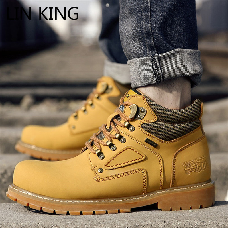 LIN KING Super Warm Men's Winter Genuine Leather Boots Waterproof Snow Boots Retro Thick Sole Lace Up Man Ankle Botas Big Size