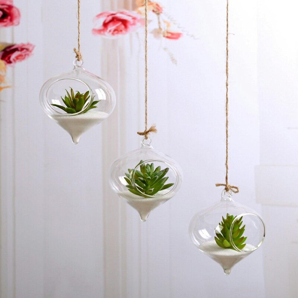Flower Plant Clear Glass Vase Hanging Planter Terrarium Container Party Wedding Decor Bottle Pot Home Garden Ball Round Vase New - Цвет: C