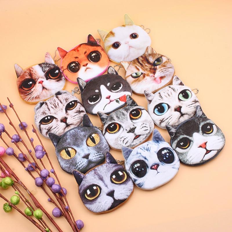 Cute Girls Wallet Bag Ladies Zipper Mini 3D Cat Face Coin Purses Dog Children's Purse Plush Bolsa De Moeda Coins Pouch Monedero
