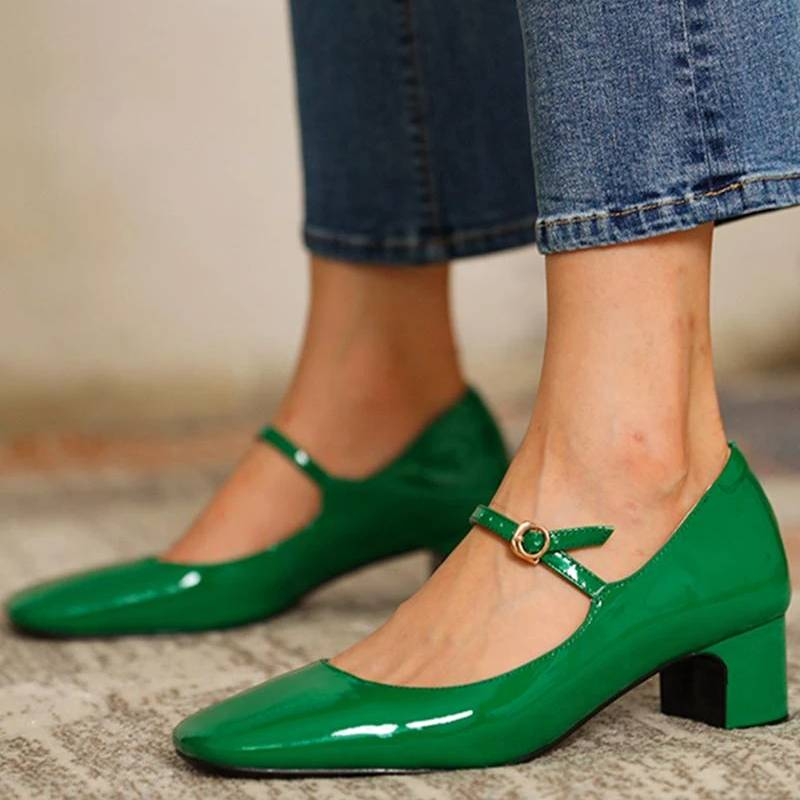 Fashion Women's Shoes Mary Jane Style Ladies Shoes Low Heel Shallow Mouth Round Toe Solid Color Women's Shoes Party Shoes