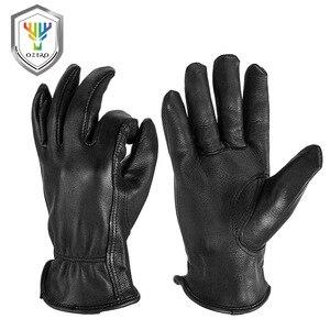 Image 1 - OZERO New Man Work Gloves Welding Working Gloves Deerskin Leather Safety Protective Garden MOTO Wear resisting Gloves 8003