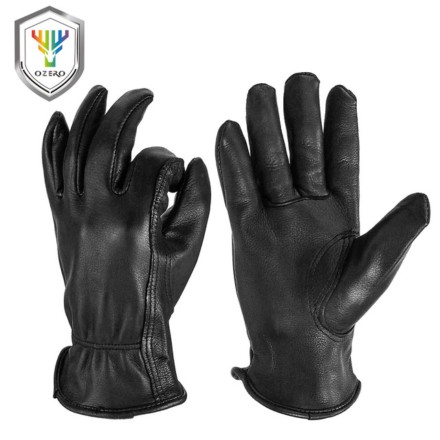 OZERO New Man Work Gloves Welding Working Gloves Deerskin Leather Safety Protective Garden MOTO Wear resisting Gloves 8003