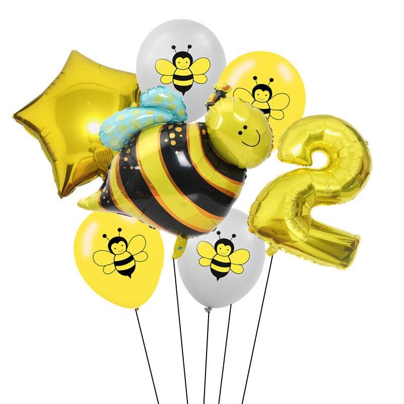 7 шт 12 дюймов мультфильм пчела латексные шары 0-9 Количество фольги воздушный шар набор надувной шар для детского душа детский день рождения партии поставки-3