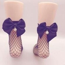 1 Pair of NEW Korean Version Hollow Bottom Sexy Bow Fishing Net Socks NEW Style Girls Short Bow Character Mesh Socks bow decorated net socks 3pairs
