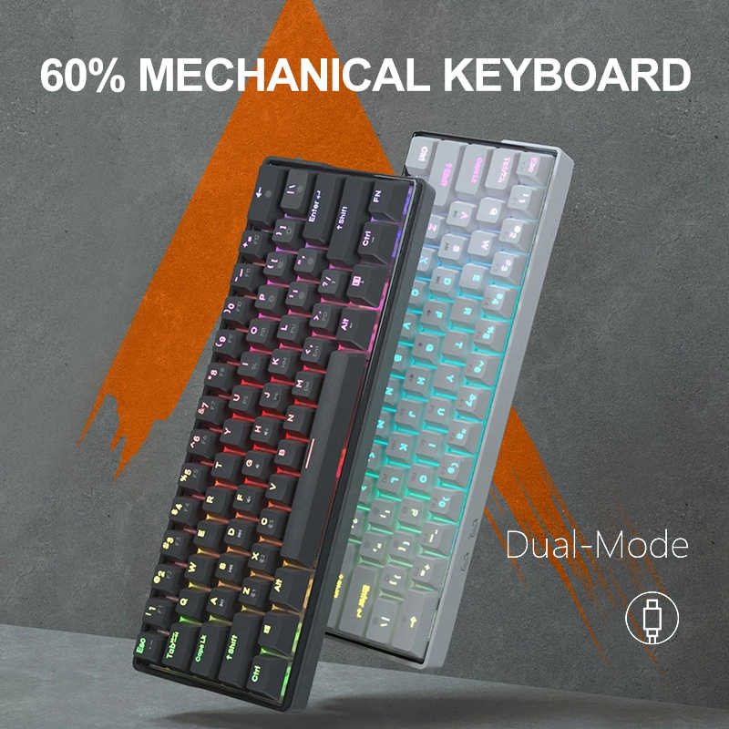 KEMOVE SnowFox 61 toetsen Toetsenbordschakelaar 60% NKRO Bluetooth 5 90% PBT Keycaps Key Caps Type-C Dual Mode Mechanisch Draadloos Gaming-toetsenbord voor Windows Android Computer Laptop Tablet vs DK61
