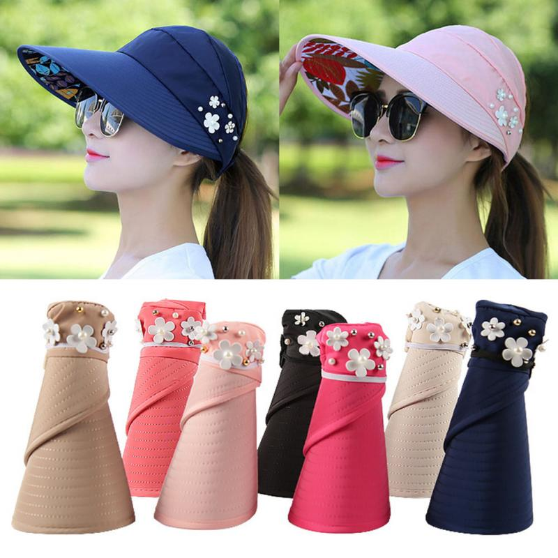 Women Foldable Sunhat Beach UV-Proof Hat Summer Wide Brim Cap With 7 Colors For Choice Anti-Uv Hat #137
