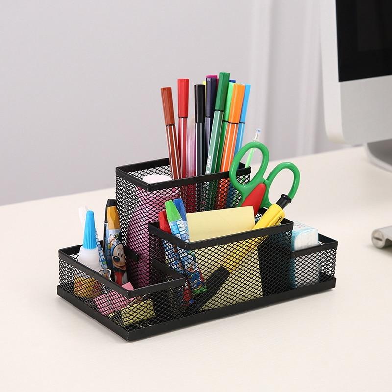 Mesh Metal Pen Stand Pencil Holder Multi-Function Office Supplies Desk Organizer Desktop Accessories For Birthday Gift