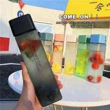 Nova quente quadrado fosco garrafa de água de plástico portátil transparente garrafa de frutas à prova de vazamento ao ar livre esporte viagem garrafa de acampamento