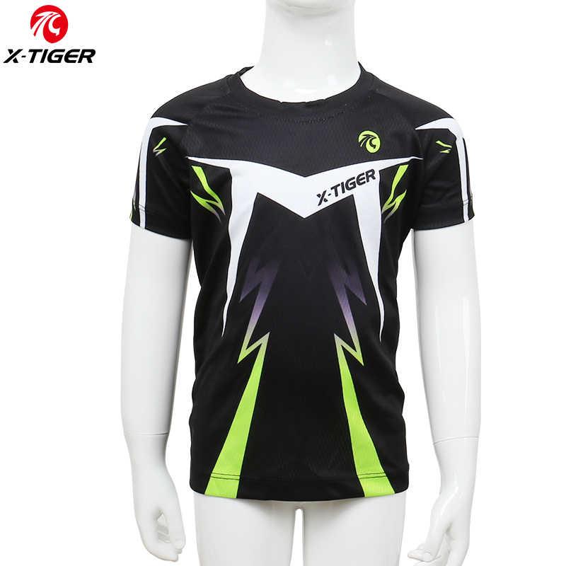 Быстросохнущая Футболка X-Tiger, детская одежда для велоспорта из 100% полиэстера, летние майки с короткими рукавами для мальчиков, одежда для горного велосипеда