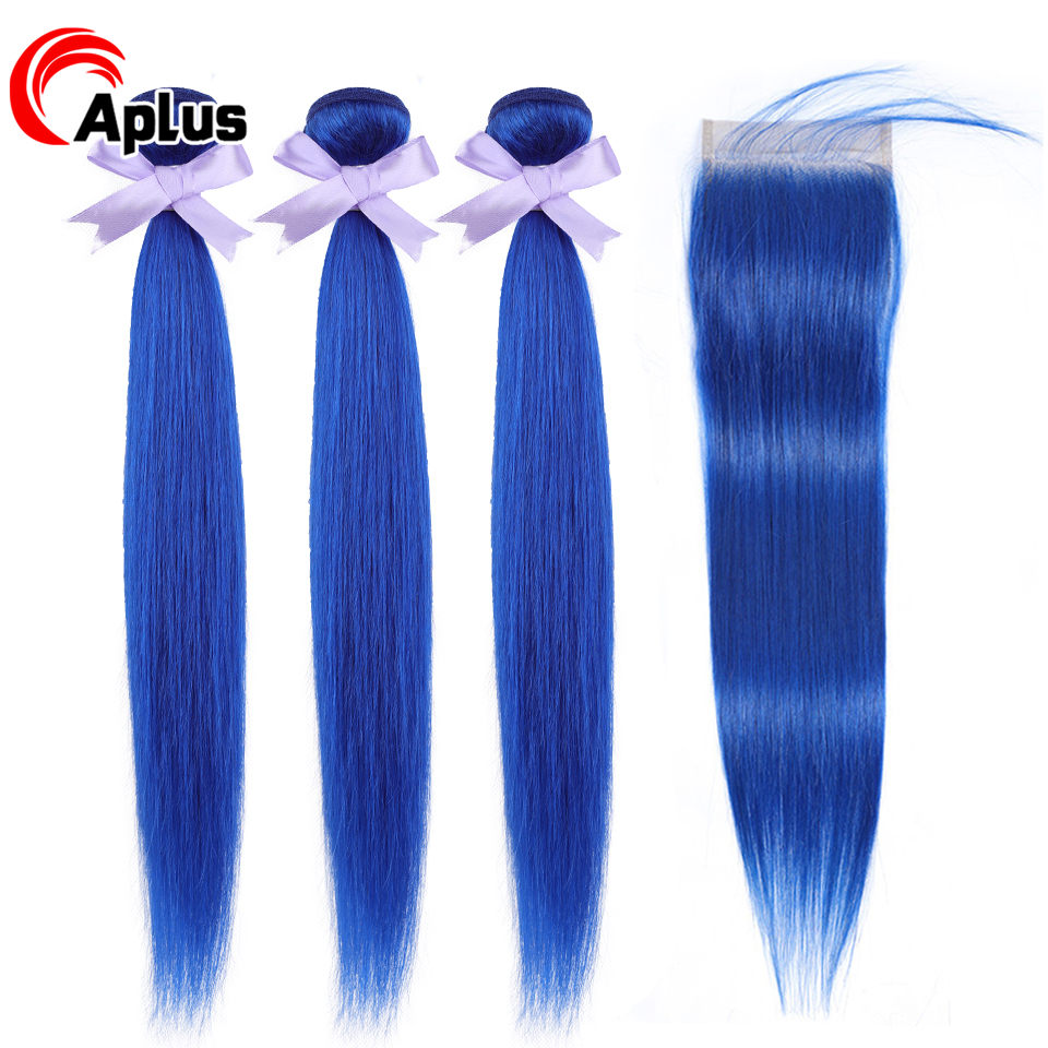 Pre Colored Bundles With Closure Brazilian Straight Blue Bundles With Closure With Baby Hair Remy Fast Shipping Color Bundlles