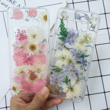 Tfshining Real Flowers Phone Case For Samsung Galaxy S8 S9 Plus S10 Note 9 8 Handmade Dried Floral Pressed Clear TPU Cover